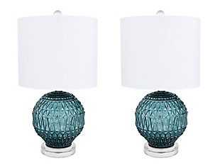 Creative Co-Op Faceted Glass Accent Lamp with Glass Base, Set of 2, , large
