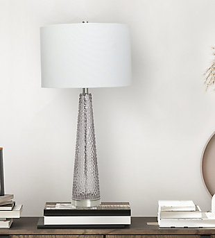 Creative Co-Op Transparent Bubble Glass Table Lamp with Metal Base, Set of 2, Gray, rollover