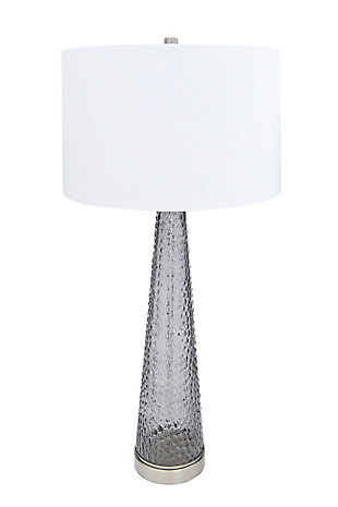 Creative Co-Op Transparent Bubble Glass Table Lamp with Metal Base, Set of 2, Gray, large