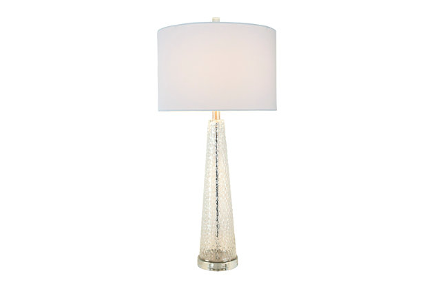 Creative Co-Op Transparent Bubble Glass Table Lamp with Glass Base, Set of 2, Clear, large