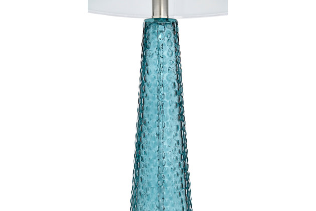 Creative Co-Op Transparent Bubble Glass Table Lamp with Metal Base, Set of 2, Blue, large