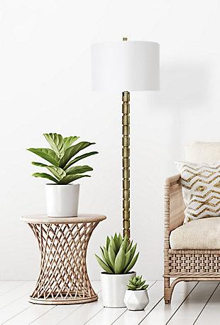 Creative Co-Op Faceted Metal Floor Lamp with Stacked Column Design, Bronze, rollover