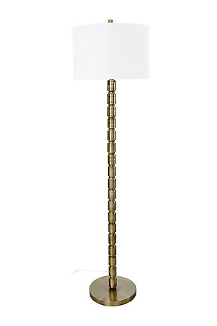 Creative Co-Op Faceted Metal Floor Lamp with Stacked Column Design, Bronze, large