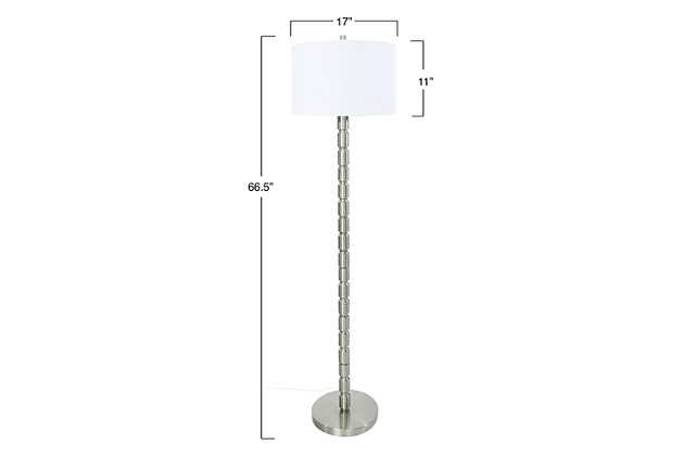 Creative Co-Op Faceted Metal Floor Lamp with Stacked Column Design, Nickel, large