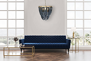 Creative Co-Op Metal Chandelier with Draped Blue Wood Beads, Navy, rollover