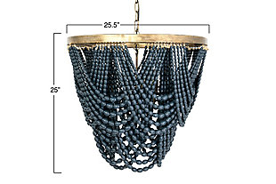 Creative Co-Op Metal Chandelier with Draped Blue Wood Beads, Navy, large