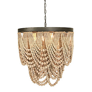 Creative Co-Op Metal Chandelier with Draped Wood Beads, White, large