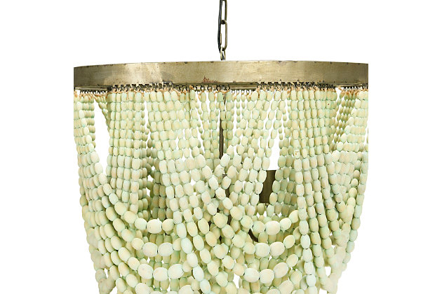 Creative Co-Op Metal Chandelier with Draped Wood Beads, Aqua, large