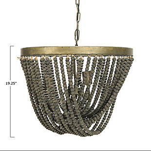 Creative Co-Op Metal Chandelier with Draped Wood Beads, Black, large