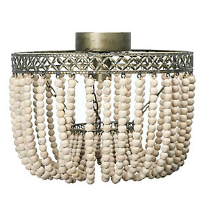 Creative Co-Op Wood Bead and Metal Semi-Flush Light, , large