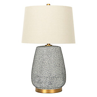 Creative Co-Op Textured Blue Glaze Ceramic Table Lamp with Natural Linen Shade, , large