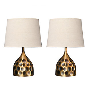 """Creative Co-Op 19"""" Hammered Brass Table Lamps, Set of 2, , large"""