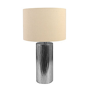 Creative Co-Op Faux Bois Stoneware Table Lamp with Linen Shade, Silver, Silver, large