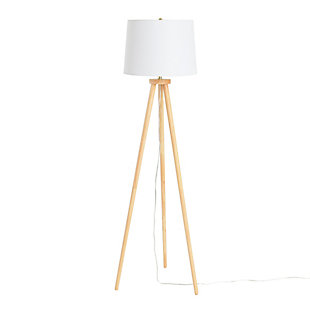 Creative Co-Op A-Frame Tripod Rubber Wood Floor Lamp with Cream Linen Shade, Espresso, Brown, large