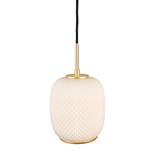 Creative Co-Op Embossed Glass Shade Pendant Lamp with Brass Accents, Opaque White, White, large
