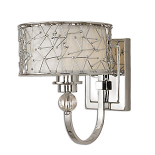 Uttermost Brandon 1 Light Nickel Plated Wall Sconce, , large