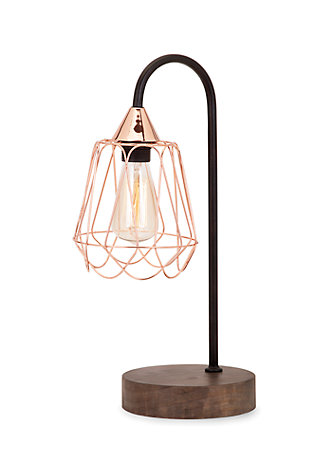 Tilton Copper and Wood Table Lamp, , rollover