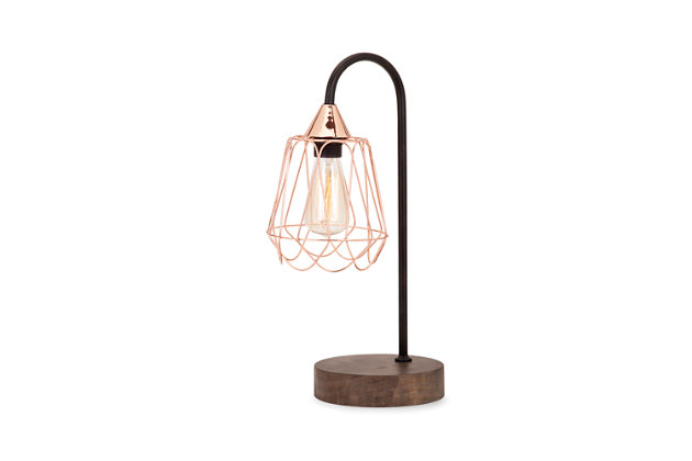 Tilton Copper and Wood Table Lamp, , large
