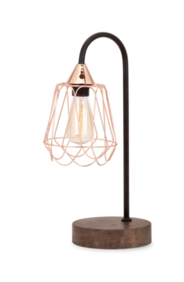 Tilton Copper And Wood Table Lamp Ashley Furniture Homestore