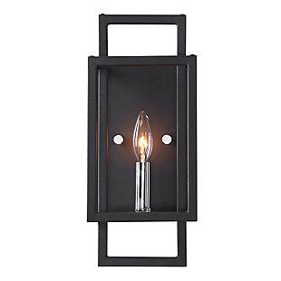Uttermost Quadrangle 1 Light Black Sconce, , large