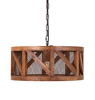 Home Accents Wood and Wire Pendant Light, , rollover