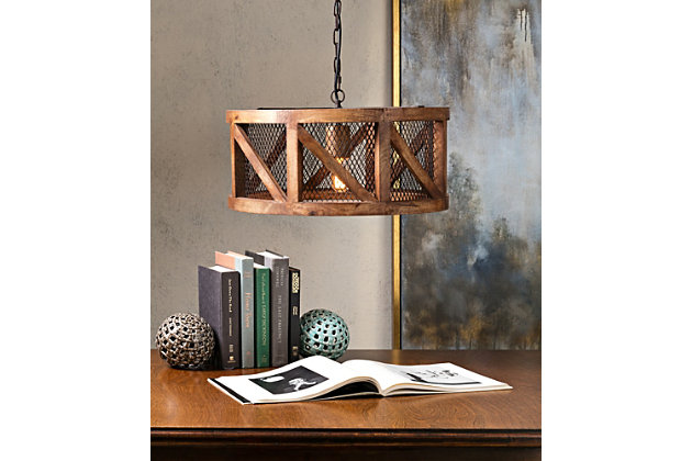 Home Accents Wood and Wire Pendant Light, , large