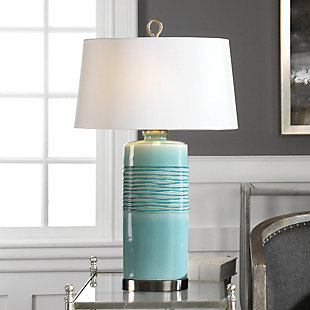 Uttermost Rila Distressed Teal Table Lamp, , rollover