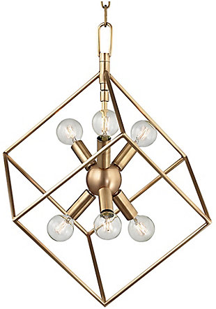 A TOUCH OF DESIGN Modern Square Iron Chandelier in Brass Finish, , large