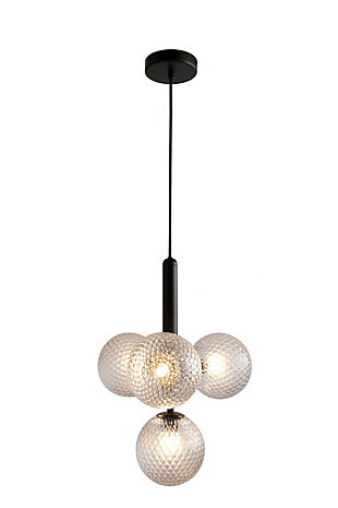 A TOUCH OF DESIGN Black Metal Midcentury Modern Chandelier with 4 Glass Globe Shades, , large