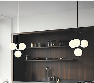 A TOUCH OF DESIGN Black Metal Midcentury Modern Chandelier with 4 Glass Globe Shades, , rollover