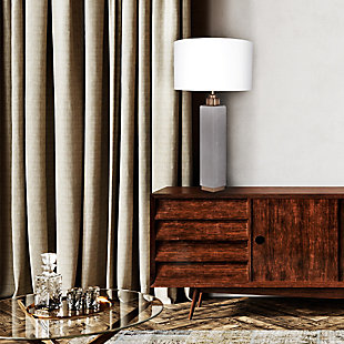 """A TOUCH OF DESIGN 30"""" Cement Table Lamp with White Fabric Shade, , rollover"""