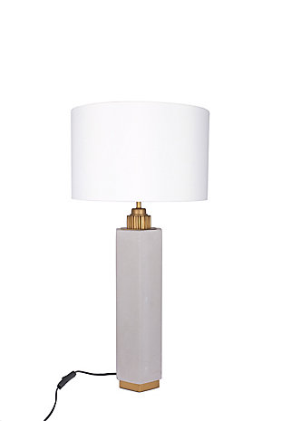 """A TOUCH OF DESIGN 30"""" Cement Table Lamp with White Fabric Shade, , large"""
