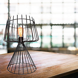 """A TOUCH OF DESIGN 20"""" Industrial Metal Table Lamp with Iron Cage Shade and Base, , rollover"""