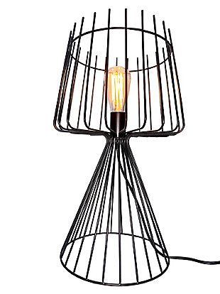 """A TOUCH OF DESIGN 20"""" Industrial Metal Table Lamp with Iron Cage Shade and Base, , large"""