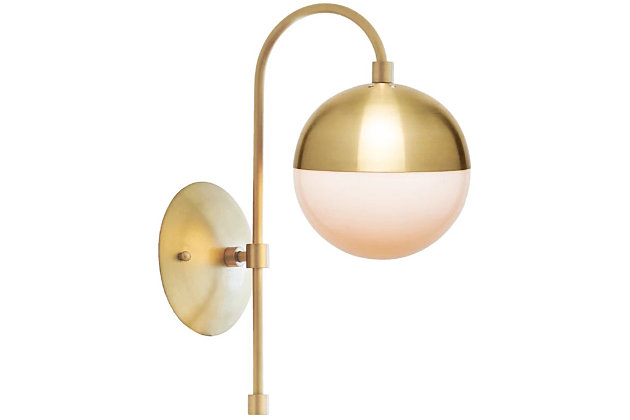 A TOUCH OF DESIGN Brass Metal Midcentury Modern Wall Sconce, , large