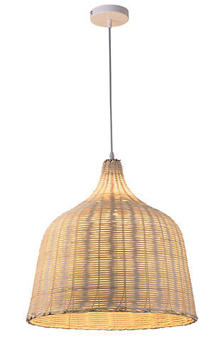 A TOUCH OF DESIGN Natural Rattan Lantern Pendant Light on Adjustable Cable, , large