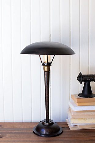 Kalalou Antique Black Table Lamp with Dome Shade, , rollover