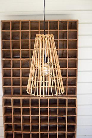 Kalalou Cone Shaped Bamboo Pendant Light, , rollover