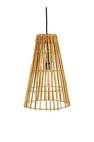 Kalalou Cone Shaped Bamboo Pendant Light, , large