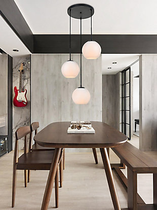 Living District Baxter 3 Lights Black Pendant With Frosted White Glass, Black/Frosted White, rollover