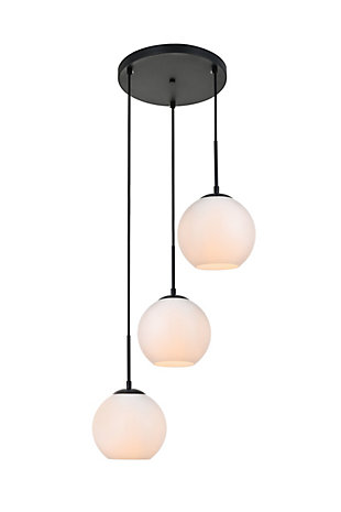 Living District Baxter 3 Lights Black Pendant With Frosted White Glass, Black/Frosted White, large