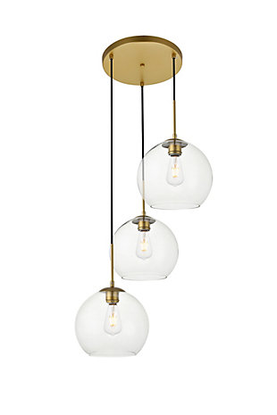 Living District Baxter 3 Lights Brass Pendant With Clear Glass, Brass/Clear, large