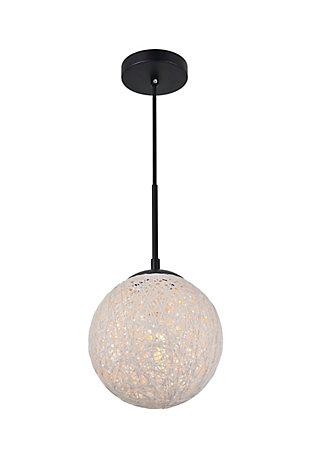 Living District Malibu 1 Light Black Pendant With Paper String Ball, Black/White, large