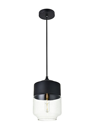 Living District Ashwell 1 Light Black Pendant With Clear Glass, , large