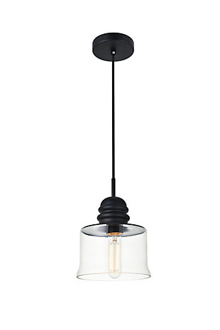 Living District Kenna 1 Light Black Pendant With Clear Glass, , large
