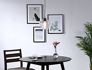 Living District Gene 1 Light Black And Clear Glass Pendant, Black/Clear, rollover