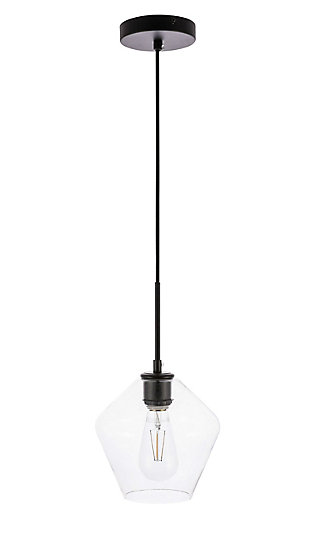 Living District Gene 1 Light Black And Clear Glass Pendant, Black/Clear, large