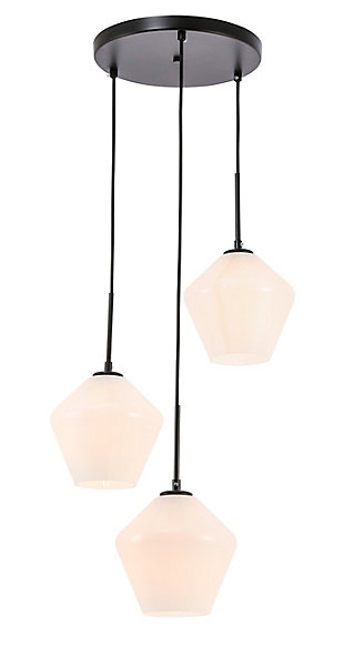 Living District Gene 3 Light Black And Frosted White Glass Pendant, Black/Frosted White, large