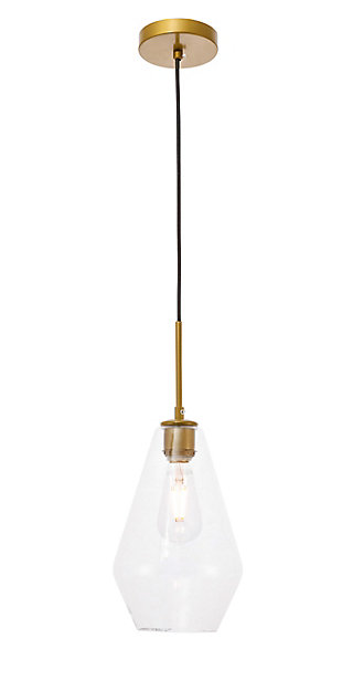 Living District Gene 1 Light Brass And Clear Glass Pendant, Brass/Clear, large