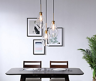 Living District Gene 3 Light Brass And Clear Glass Pendant, Brass/Clear, rollover